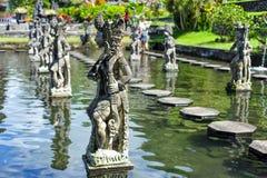 BALI, INDONESIA 3 de julio de 2015: Charca famosa con las progresiones toxicológicas en palacio del agua de Tirtagangga Imagen de archivo