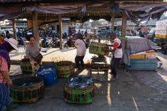 BALI/INDONESIA- 15 DE MAIO DE 2019: A captura dos pescadores é pesada imediatamente no local do leilão de peixes A captura dos pe fotos de stock
