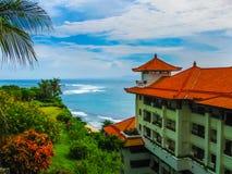 Bali, Indonesia - December 30, 2008: The beach of ocean and Nusa Dua Grand Nikko hotel Stock Images