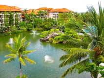 Bali, Indonesia - December 25, 2008: The Lagoon and park in Ayodya Resort Stock Photos