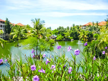 Bali, Indonesia - December 25, 2008: The Lagoon and park in Ayodya Resort Royalty Free Stock Photos