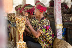 BALI, INDONESIA, DECEMBER, 24,2014: Musicians in the troupe play. Traditional Balinese music to accompany dancers in a 'Barong Dance show' on December 24, 2014 stock photography
