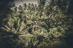 BALI, INDONESIA - DECEMBER 5, 2017: Young tourist man swinging on the cliff in the jungle rainforest of a tropical Bali Royalty Free Stock Photos