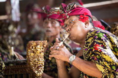 BALI, INDONESIA, DICEMBRE, 24,2014: Sedere tradizionali del gioco del musicista Fotografia Stock