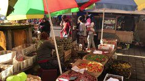 Bali, Indonesia - February 21, 2019: Balinese traditional food market at morning time. People on market. stock video footage