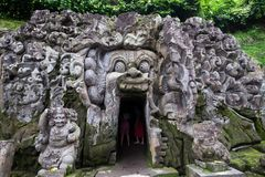 Bali, Indonesia January 01, 2018 - the Elephant Cave Temple in Ubud, Bali island Royalty Free Stock Images