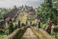 Tourists in the Pura Lempuyang temple stock photography