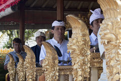 BALI, INDONESIA-JUL 6TH: A Gamelan(musical ensemble) plays durin Royalty Free Stock Images