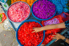 BALI, INDONESIA - MARCH 08, 2017: Outdoor Bali flower market. Flowers are used daily by Balinese Hindus as symbolic Royalty Free Stock Image