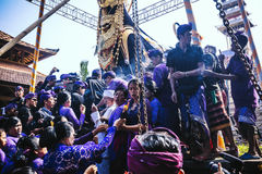 BALI, INDONESIA - MAY 8: Balinese people participating in royal Royalty Free Stock Photo