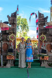 BALI, INDONESIA - MAY 5, 2017: European women near the traditional Balinese pura temple. Bali, Indonesia. stock photo