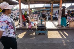 BALI-INDONESIA-MAY 15 2019: Several stalls where weighing fish caught by fishermen stock images