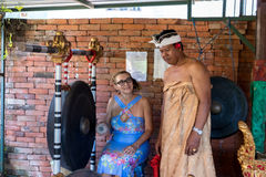 BALI, INDONESIA - MAY 5, 2017: Women playing on Traditional Balinese music instrument gamelan. Bali island, Indonesia. Royalty Free Stock Photo