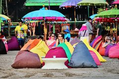 Bali Canggu beach bar. Bali, Indonesia - November 12, 2015: A colorful beach bar in Canggu Beach north of Seminyak Stock Image