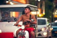 BALI, INDONESIA - OCTOBER 12, 2017: Scooters on the Legian street, Kuta, Bali, Indonesia. Motorbike traffic. Royalty Free Stock Photo