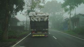 Bali, Indonesia - octubre de 2017: Niebla de Point of View en una carretera nacional en bosque almacen de metraje de vídeo