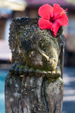 Bali, Indonesia. Old Balinese stone statue with fresh red flower on the head - traditional ritual Stock Images