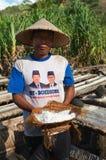 Traditional sea salt production on on the volcanic black sand, B Stock Photography