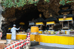 Sacred ceremony in Goa Lawah Bat Cave, Bali, Indonesia Royalty Free Stock Photography