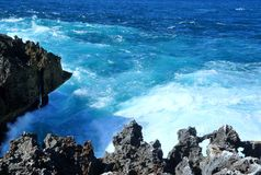Sea cliffs and very blue water royalty free stock image