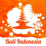 Bali indonesian landscape watercolor bali in indonesia view hand painted vector illustration royalty free illustration