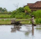 Bali Indonesien - December 2018: Balineseman som plogar risfält med den gå traktoren royaltyfria foton