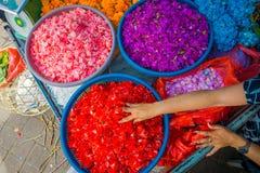 BALI, INDONESIEN - 8. MÄRZ 2017: Bali-Blumenmarkt im Freien Blumen werden täglich von den Balinese-Hindus benutzt, wie symbolisch Lizenzfreies Stockbild
