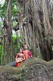 BALI INDONESIEN - MAJ 17 Koppla ihop på apabron Ubad Bali efter bröllopceremoni på Maj 17, 2016 i Bali, Indonesien Fotografering för Bildbyråer
