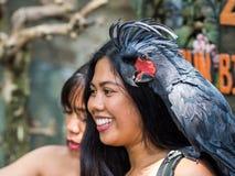 Bali Indonesien - mars 22, 2018: En kvinna som ler med kakaduan på hennes skuldra fotografering för bildbyråer