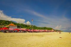 BALI INDONESIEN - MARS 11, 2017: Härlig solig dag med paraplyer i rad i stranden av den Pantai pandawaen, i Bali Fotografering för Bildbyråer