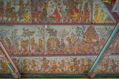 BALI INDONESIEN - MARS 08, 2017: Platser av Hinduist helvete från Ramayana på Royal Palace, Ramayana är hinduiska epons, grund Arkivbild
