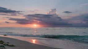 Bali Indonesien solnedgång på Nusa Lembongan på jäkels sidan för stenig strand för reva arkivfilmer