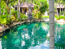 Bali Indonezja, Kwiecień, - 13, 2014: Widok pływacki basen przy Koralowymi widok willami Obrazy Stock