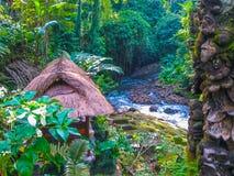 Bali Indonezja, Kwiecień, - 13, 2012: Widok zdroju bungalow przy Tjampuhan hotelem Zdjęcia Stock