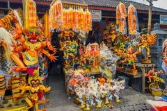 BALI INDONEZJA, MARZEC, - 08, 2017: Impresive ręcznie robiony struktury, Ogoh-ogoh statua budująca dla Ngrupuk parady która, Zdjęcie Stock