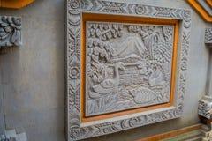 BALI INDONEZJA, MARZEC, - 08, 2017: Piękna sztuka używać tylko ścinaka robić sztuce na ścianie cement, w Denpasar Bali Obraz Royalty Free