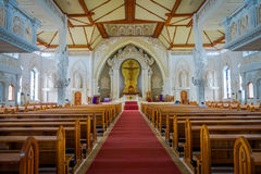 BALI INDONEZJA, MARZEC, - 08, 2017: Widok from inside Katedral Roh kudu, kościół katolicki, lokalizować w Denpasar wewnątrz Zdjęcia Stock