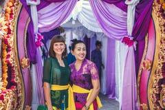 BALI INDONEZJA, PAŹDZIERNIK, - 23, 2017: Ślubna ceremonia, balijczyka ślub Zdjęcia Royalty Free
