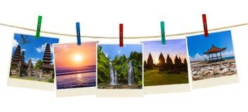 Bali Indonezja podróży wizerunki mój fotografie na clothespins obraz stock