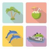 bali Insieme delle icone piane Royalty Illustrazione gratis