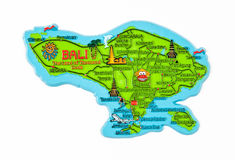Bali Island Map Figure. With Famous Places royalty free stock images