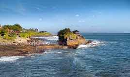 Bali island Tanah Lot Temple on sea at sunny summer day Stock Photos