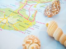 Bali Travel Maps with Seashells and With Popular Destination is Nusa Dua Beach Stock Photography