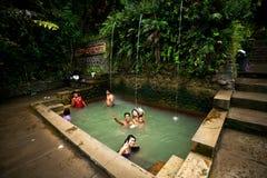 BALI - JANUARY 3 :  People take a bath in termal Banjar Tega hot Royalty Free Stock Image