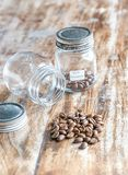 Bali Kintamani Coffee Bean On Glass Jar royalty free stock photos