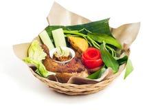 bali kurczaka świeży piec na grillu stylowy warzywo ilustracja wektor