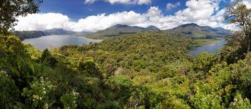 Bali lakes and mountains. Scenic view of Danu Buyan and Danau Tamblingan lake and mountains in Bulelang, Bali stock photo