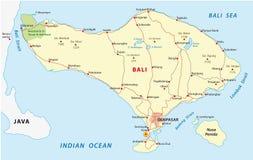 Bali map. Road map of the Indonesian resort island of Bali royalty free illustration
