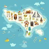 Bali map vector. Illustrated map of Bali for children/kid. royalty free illustration