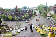 BALI – OCTOBER 17: Unidentified tourists visiting Besakih temp Royalty Free Stock Photo